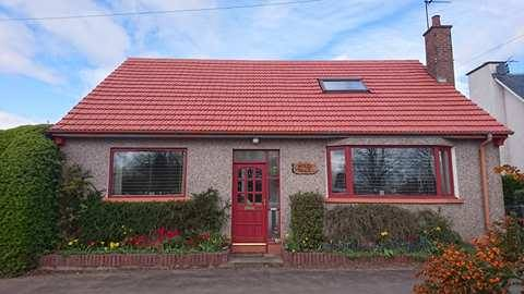 small cottage red roof